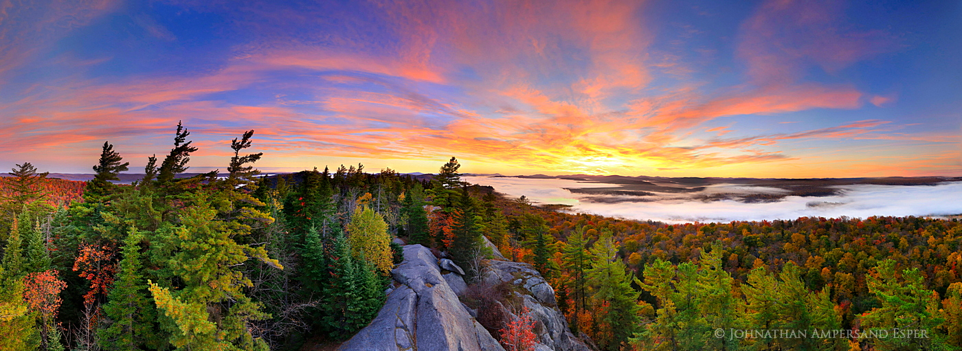 Bald-Rondaxe Mt summit180° autumn sunrise panorama from the firetower on the summit, over Second Lake fog...