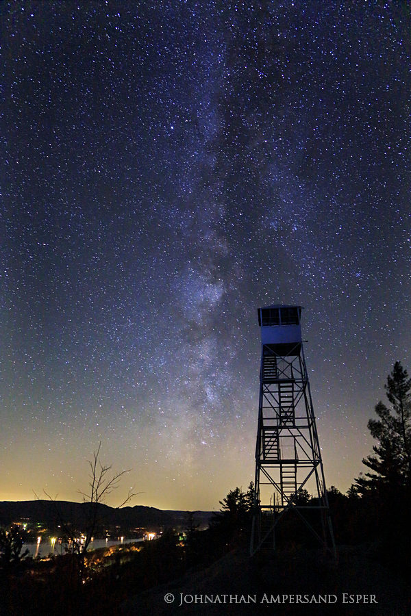 Bald-Rondaxe Mt,Bald-Rondaxt Mt Firetower,Bald Mt,Rondaxe Firetower,firetower,nigh,night sky,stars,night photography,Second Lake,Milky Way,, photo