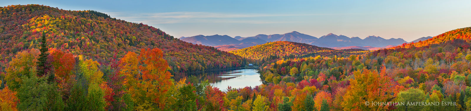Balfour Lake from private property of Camp Baco telephoto panorama of the Adirondack High Peaks to the north,  with visible L...