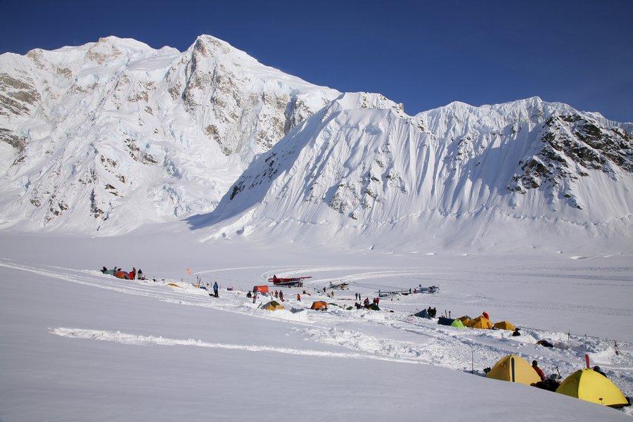 Mt. Hunter, Denali, Base Camp, Kahiltna Glacier, Mt. McKinley, mountaineering, ski planes, airport, glacier, runway, photo
