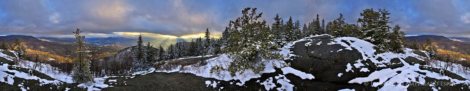 Big Crow Mountain,Big Crow Mt summit, summit,360 degree panorama,panorama,spring,snowfall,spring snowfall, photo