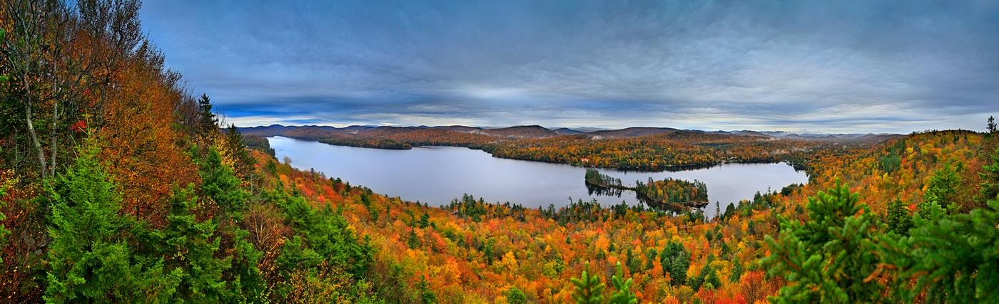 Big Moose Lake,rainy,fall,autumn,day,clouds,rain,wet,treetop,panorama,HDR,, photo