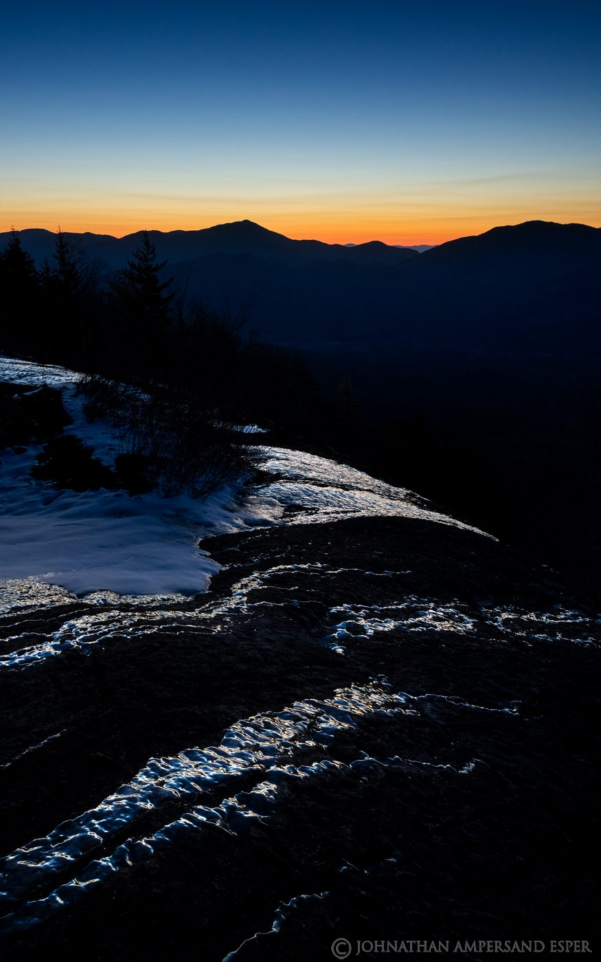 Big Slide Mt,The Brothers,Brothers Trail,ice,predawn,glow,Hurricane Mt,sillouette,spring,2020, photo