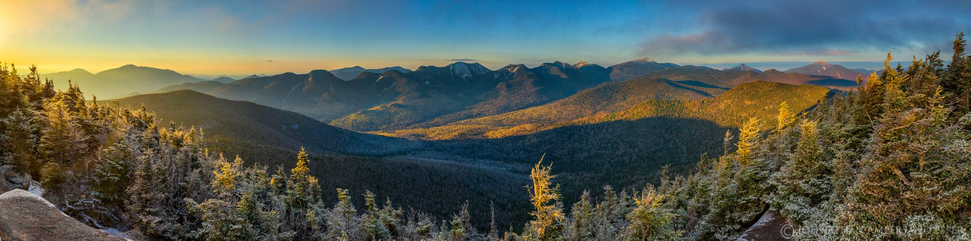 Big Slide Mt summit frosty spring morning light on High Peaks range 200 degree panorama, including left to right, Giant, Lower...