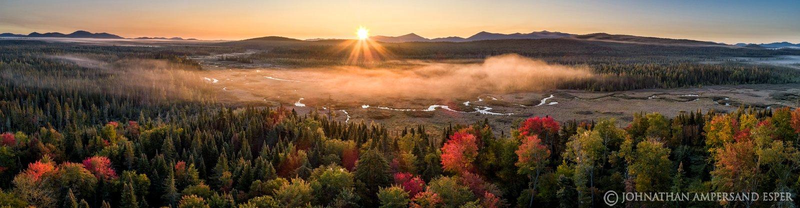 Bloomingdale Bog,wetlands,Adirondack wetlands,bog,sunrise,fog,autumn,2019,Whiteface Mt,fall,drone,panorama,aerial
