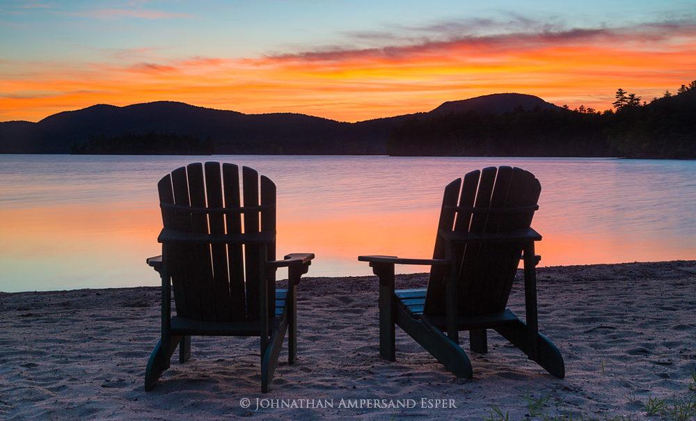 Adirondack Chairs,Blue Mountain Lake,summer,sunset,2015,ADK chairs,Adirondacks,Adirondack Park,, photo