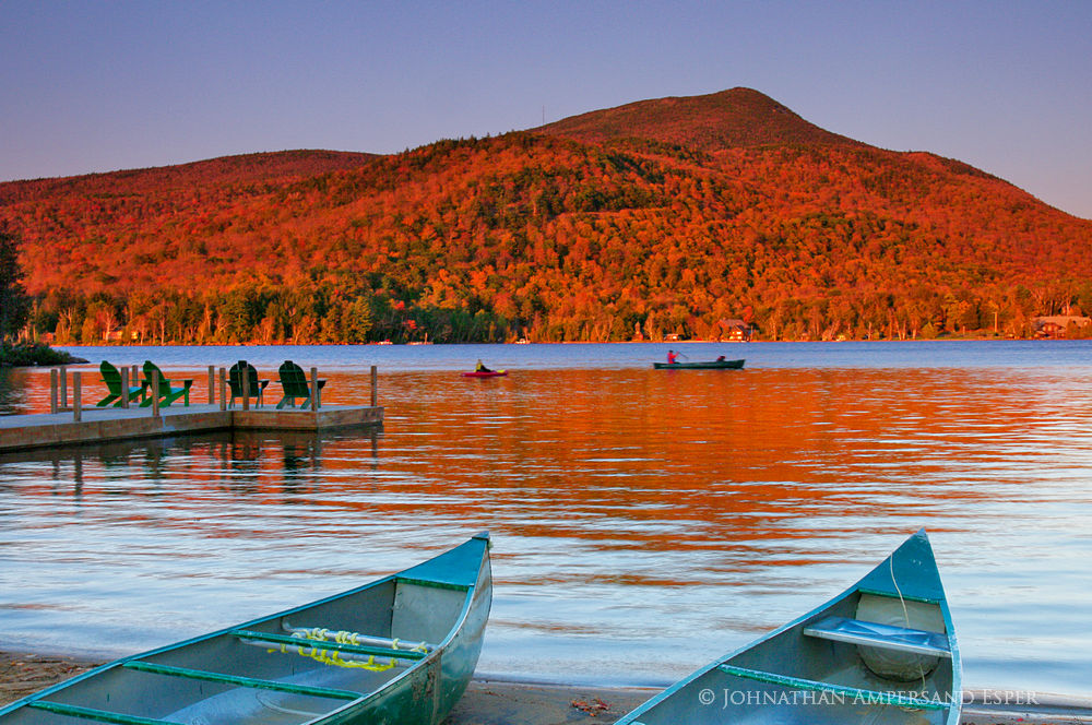 Blue Mountain Lake,Blue Mountain,canoes,shoreline,sunset,alpenglow,summer,canoeing,canoeists,2011, photo
