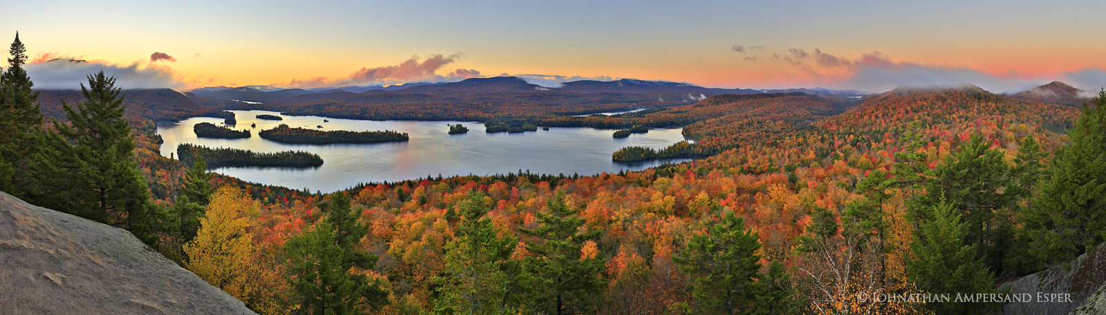 Blue Mountain Lake,autumn,Blue Mountain,Castle Rock,panorama,180 degree panorama,sunrise,morning,Adirondacks,lake,, photo