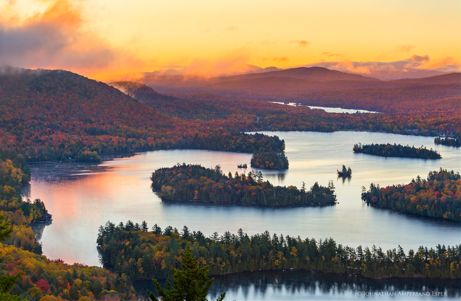 Blue Mountain Lake,autumn,Blue Mountain,Castle Rock,sunrise,morning,Adirondacks,lake,islands,, photo