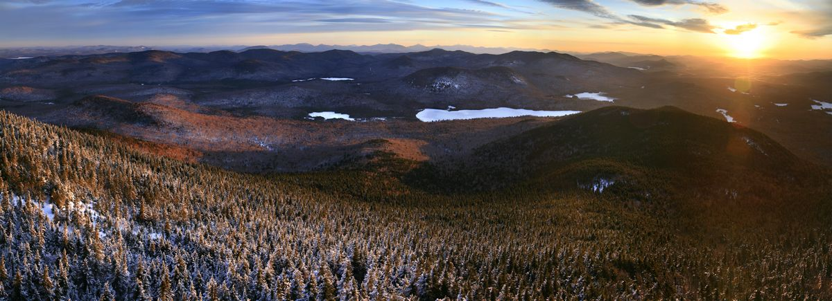 Blue Mountain, summit, aerial, view, Tirrell Pond, east, High Peaks, range, sunrise, shoot, tower, winter, morning, Adir, photo