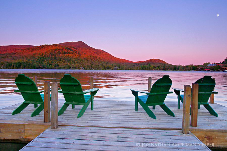 Blue Mountain Lake,Blue Mt,modern,Adirondack,chairs,Adirondack chair,rising,moon,alpenglow,sunset,glow,2011,dock, photo
