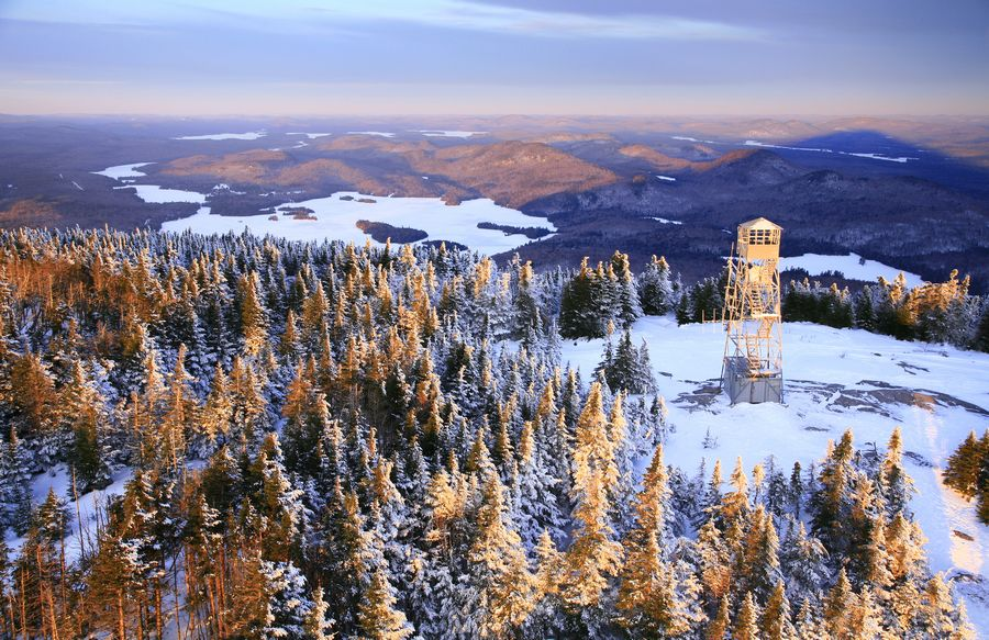 Blue Mountain, summit, firetower, aerial, view, radio tower, winter, sunrise,Blue Mountain firetower,shadow,Blue Mountain Lake,Blue Mt,, photo