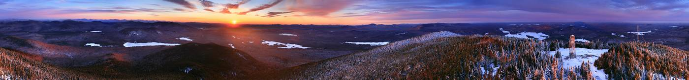 Winter sunrise aerial 360 degree panorama over the summit of Blue Mountain.  Currently my favorite photo in my entire Adirondack...