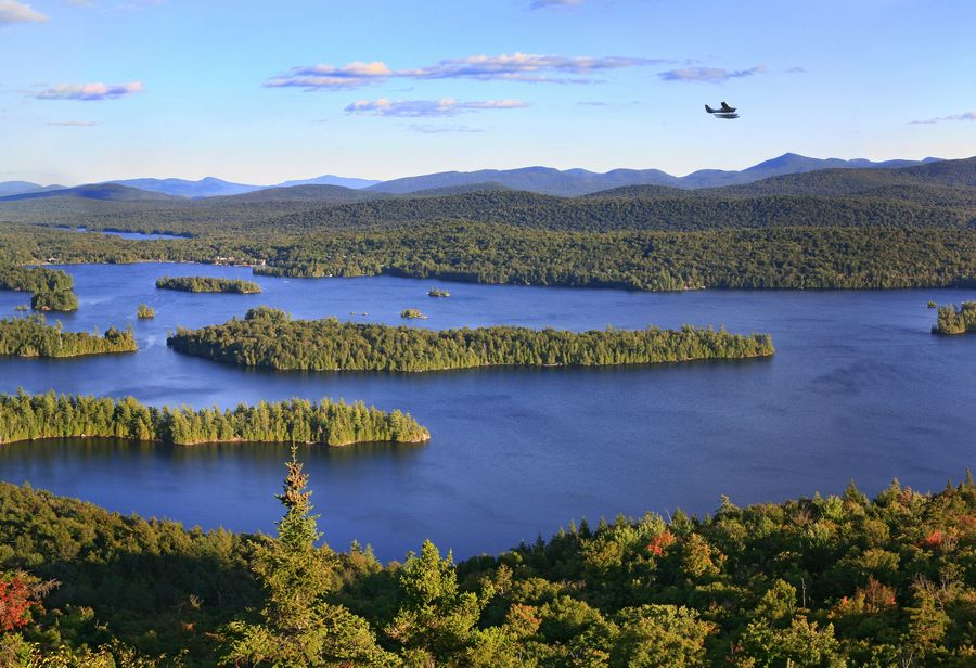 floatplane, Blue Mountain Lake, sightseeing, flight, over, Adirondacks, Blue Mountain, village, town, of, photo