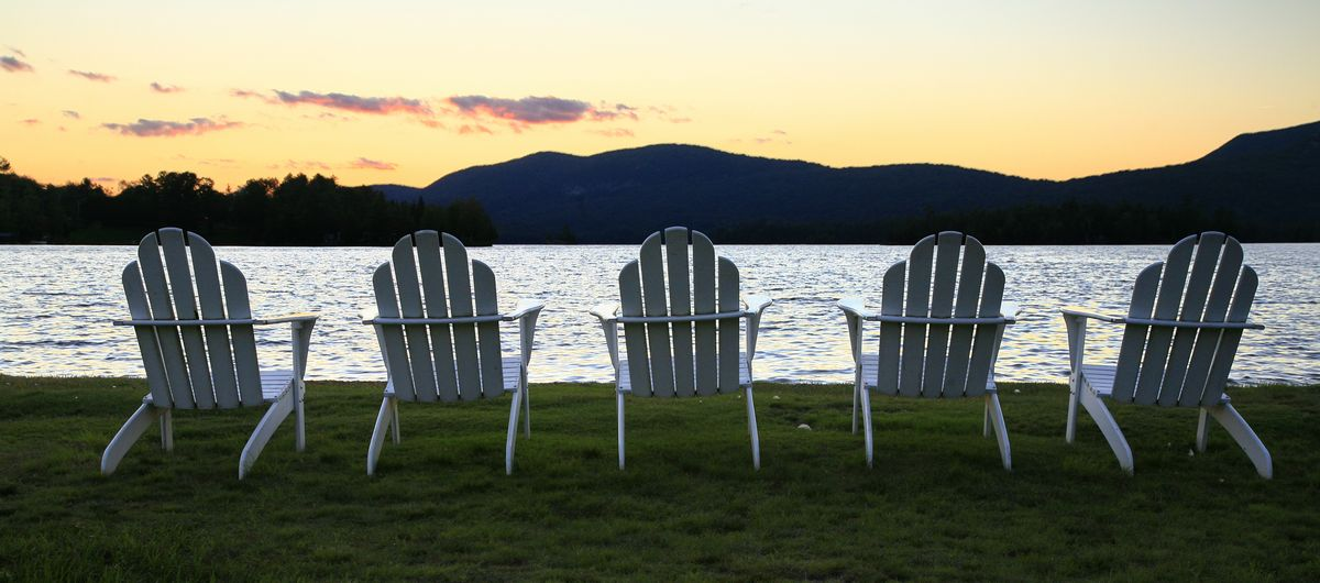 Adirondack Chair, Blue Mountain Lake, Adirondack Chairs, five, sunset, peaceful, lakeshore, lake, photo
