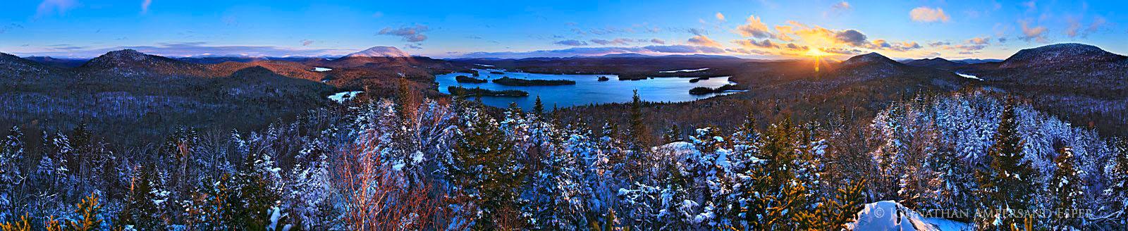 Blue Mountain Lake,winter,360 degree,panorama,Adirondack Park,Castle Rock,treetop,sunset,November,early, photo