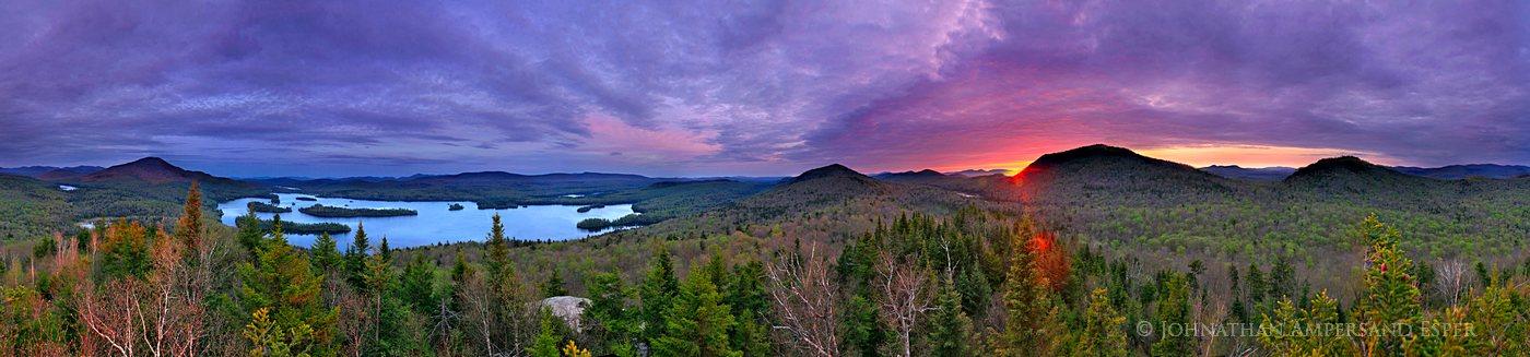 panorama,360 degree,Blue Mountain Lake,spring,sunset,treetop,Castle Rock,hdr,Blue Mountain, photo