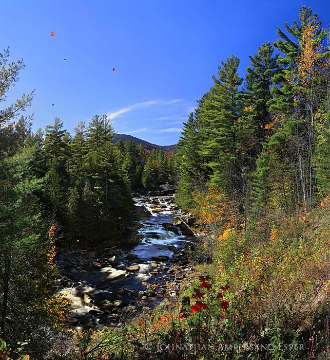 Blue Ridge Falls,North Hudson,autumn,falling leaves, photo