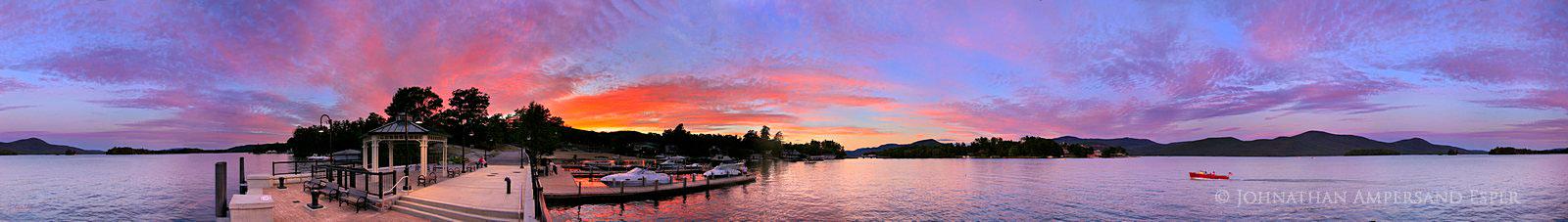 Bolton Landing, Lake George,sunset,360� panorama,Bolton Landing Lake George,town dock,Lake George sunset,, photo