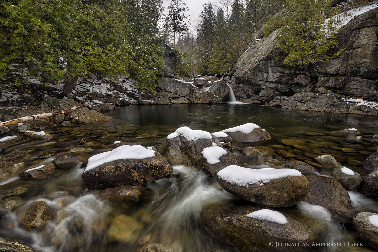 Boquet River,spring,April,spring snowfall,snowy boulders,boulders,waterfall,stream,