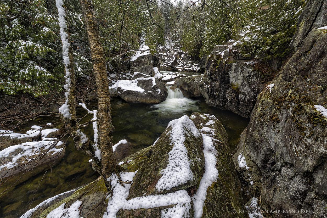 Boquet River,Boquet River North Fork,North Fork Boquet River,April,April snowstorm,gorge,