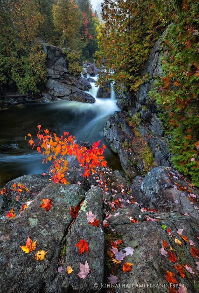 Boquet River,upper Boquet River,rainy,wet,fall,2018,autumn,maple leaves,foliage,wet rocks,red maple leaves,Adirondacks,stream,river,High Peaks,cascade,waterfall,pool, photo