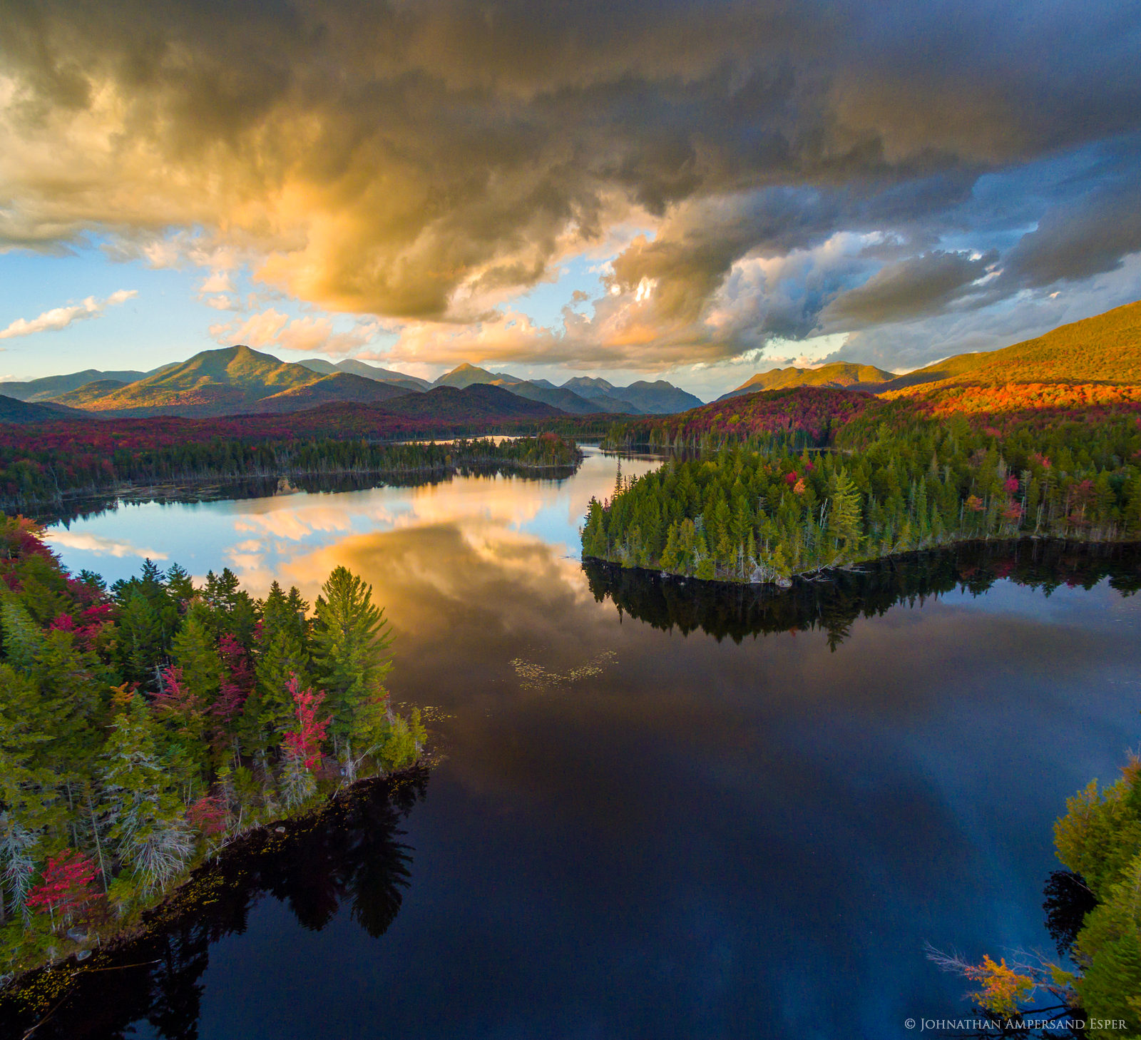 drone,aerial,Boreas Pond,Boreas Ponds,Adirondacks,High Peaks,Adirondack High Peaks,fall,2016,panorama,stormclouds,lake,sunset,Allen Mt,Mt Marcy,Haystack Mt, , photo