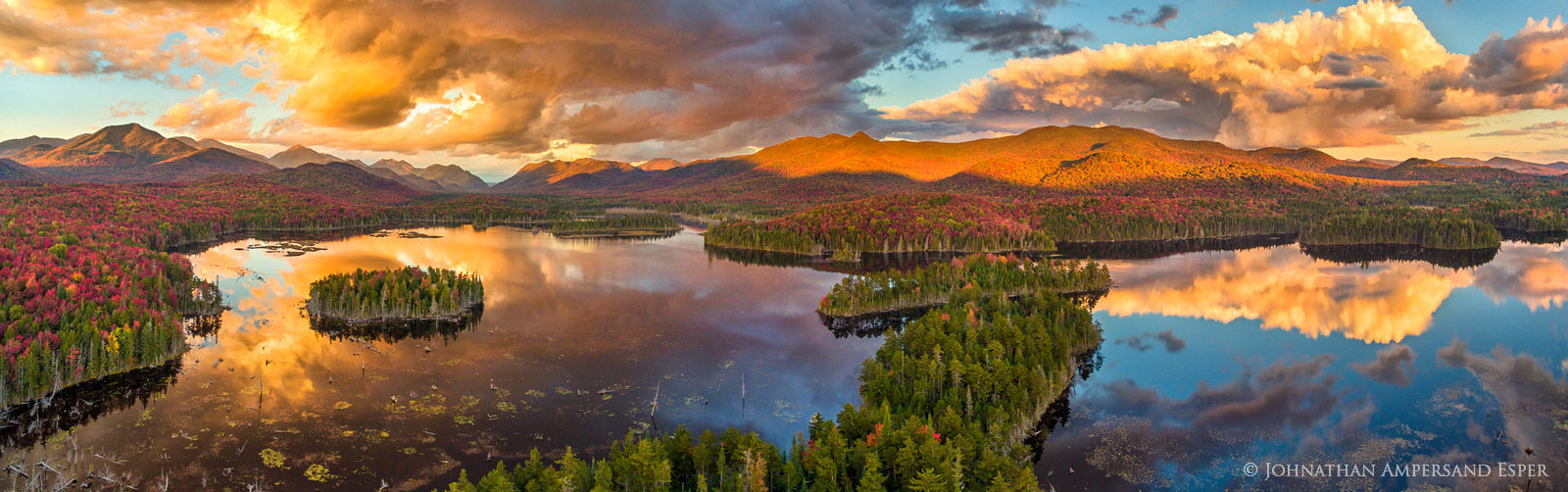 drone,aerial,Boreas Pond,Boreas Ponds,Adirondacks,High Peaks,Adirondack High Peaks,fall,2016,panorama,stormclouds,lake,sunset, photo