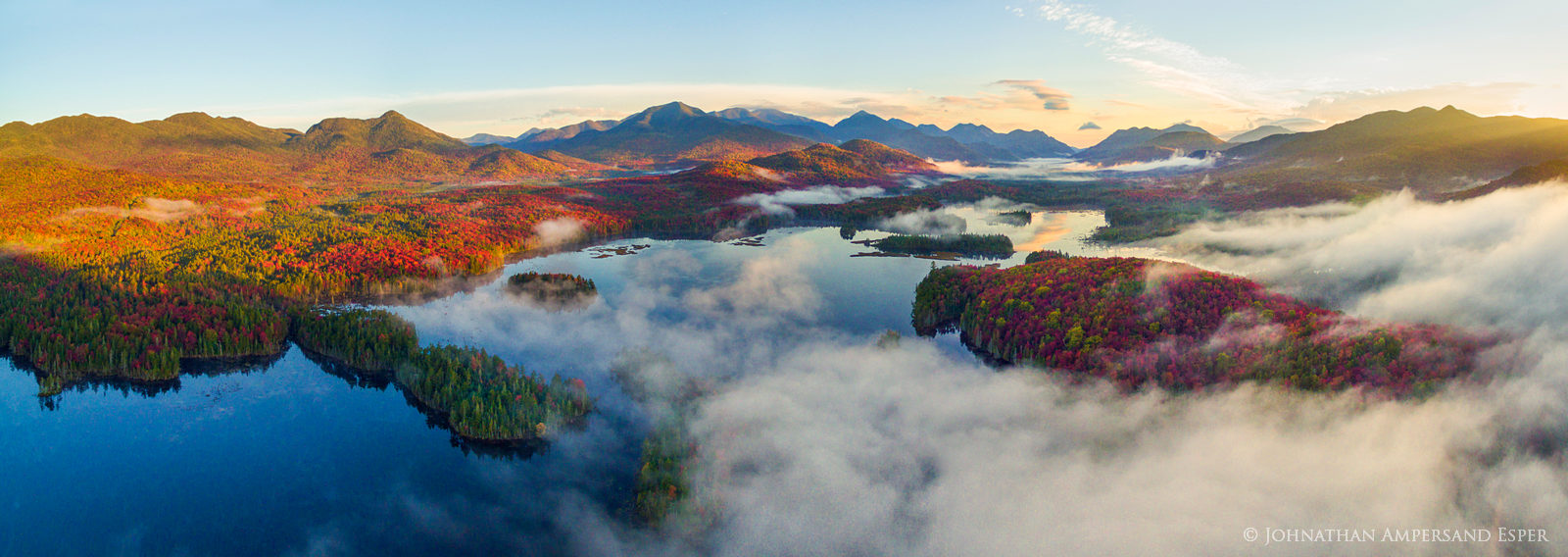 drone,aerial,Boreas Pond,Boreas Ponds,Adirondacks,High Peaks,Adirondack High Peaks,fall,2016,panorama,stormclouds,lake,sunrise fog,fog,Allen Mt,Mt Marcy, photo