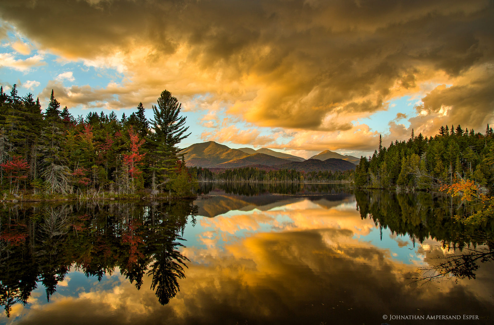 Boreas Pond,Boreas Ponds,sunset,reflection,dramatic,clouds,storm,stormclouds,red,autumn,2016, photo