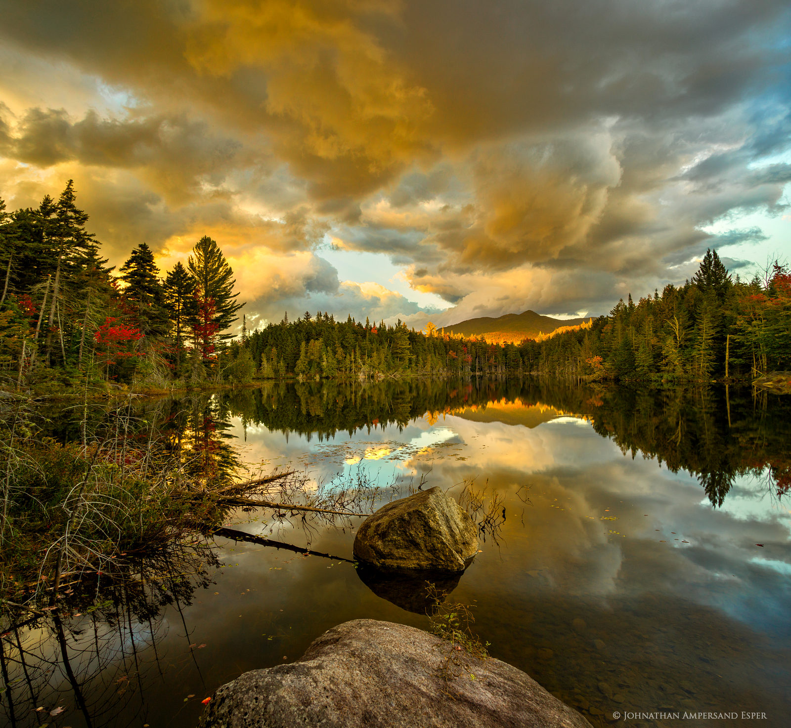 Boreas Pond,Boreas Ponds,sunset,reflection,dramatic,clouds,storm,stormclouds,red,autumn,2016,Boreas Mt, photo