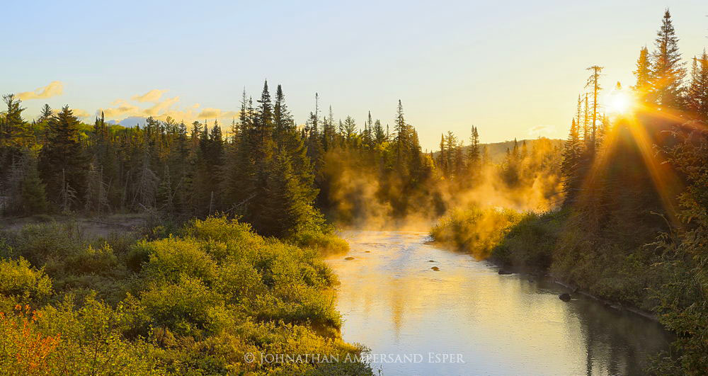 Boreas River,sunrise,fog,morning,summer,Boreas River fog,sunburst,Johnathan Esper,2015 , photo
