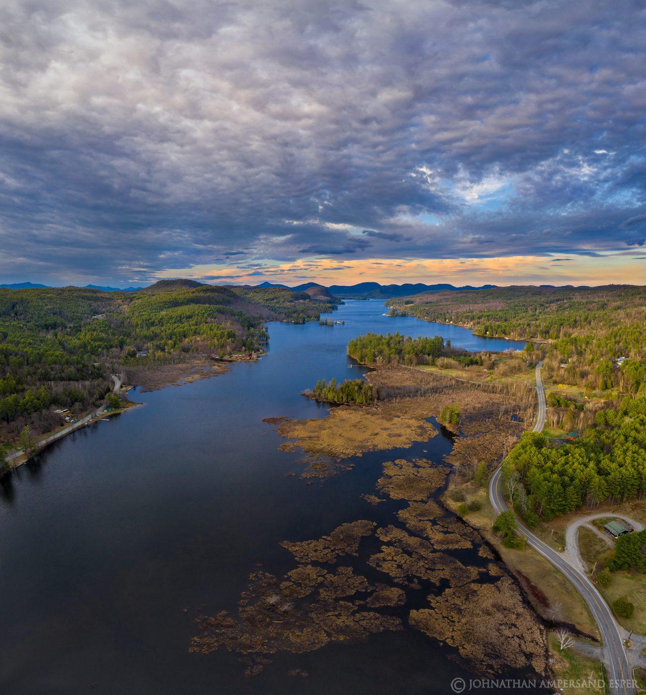 Brant Lake,drone,aerial,April,spring,2020,square,