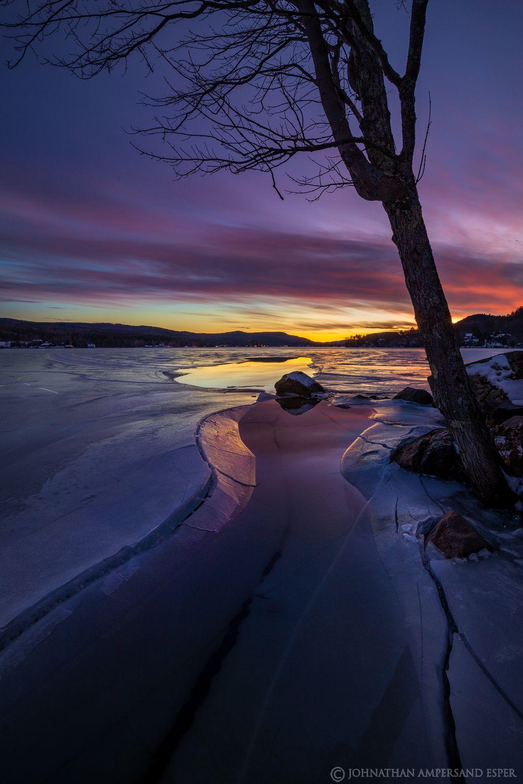 Brant Lake,December,winter,ice cracks,, photo