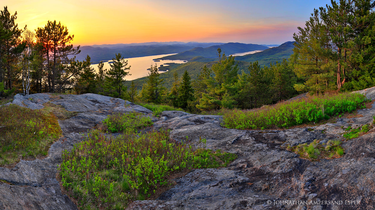 Buck Mt,Lake George,Buck Mt summit,sunset,spring,Adirondacks,Buck Mt spring,, photo