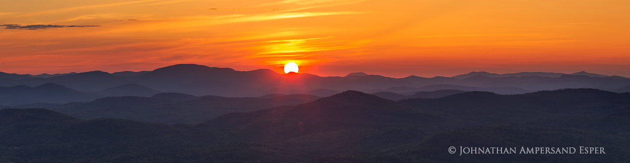 Buck Mt,Gore Mt,sun disc,sunset,telephoto panorama,layers,summer,, photo
