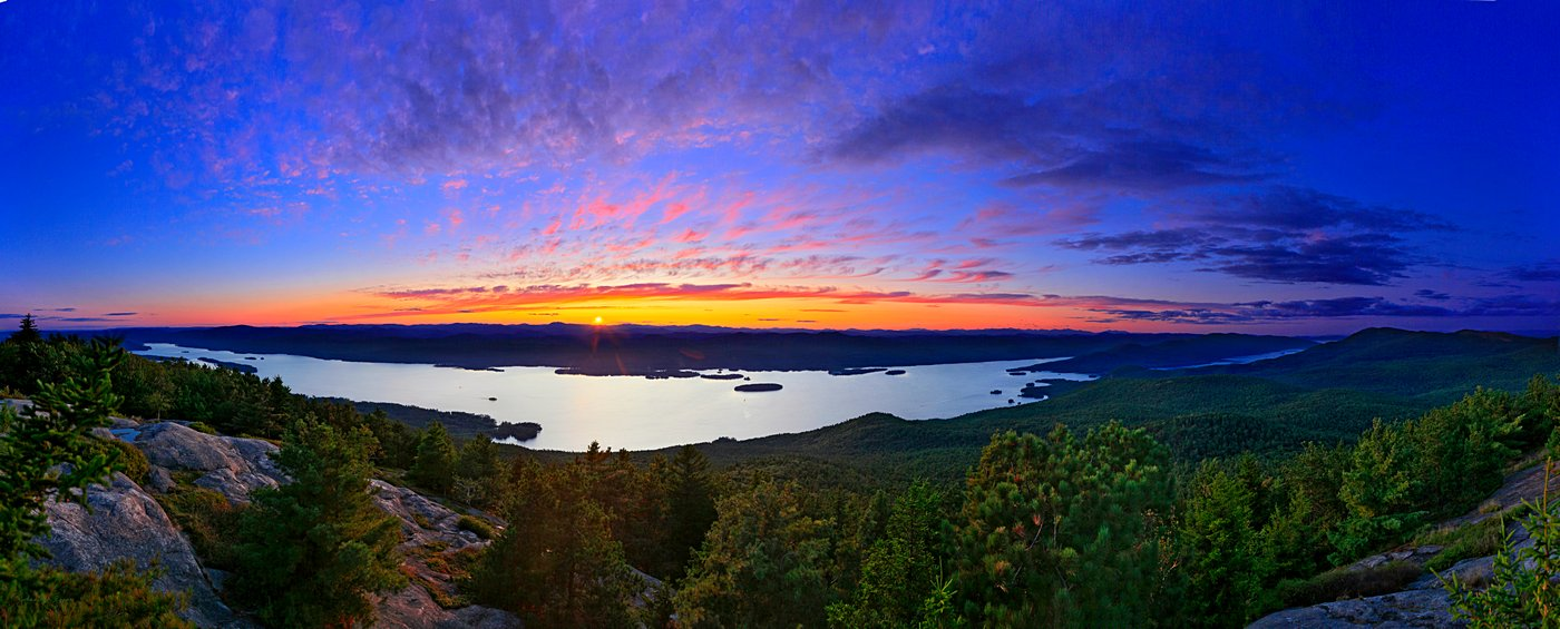 Lake George, photo, panorama, sunset, Buck Mt., Adirondacks, Adirondack Park, HDR, NY, treetop, purple, Buck Mt, photo