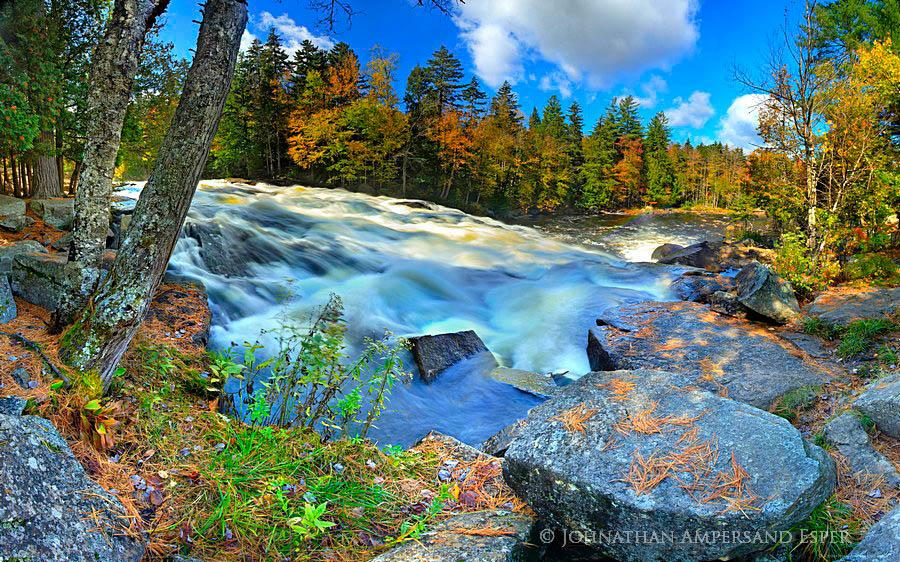 Buttermilk Falls,Raquette River,fall,2011,pine needles,rocks,panorama,falls,waterfall,, photo