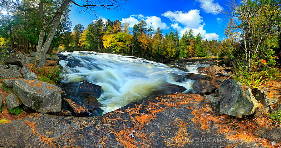 Buttermilk Falls,Raquette River,fall,2011,pine needles,rocks,panorama,falls,waterfall,, photo