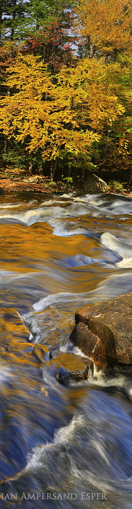 Buttermilk Falls,Raquette River,gold reflections,vertical panorama,autumn,2014,Buttermilk Falls gold reflections,panoram, photo