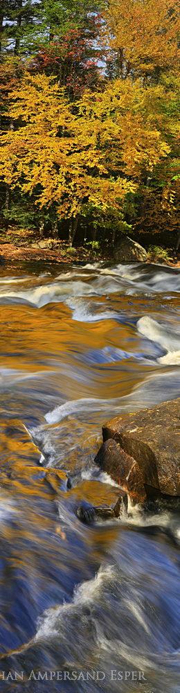 Buttermilk Falls,Raquette River,gold reflections,vertical panorama,autumn,2014,Buttermilk Falls gold reflections,panoram, photo