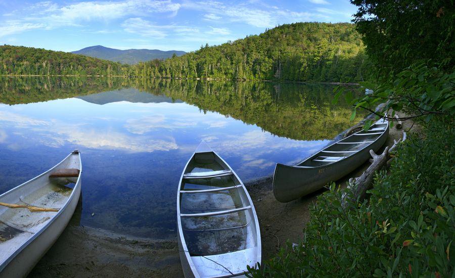 Canoes, Heart Lake, Adirondack Loj, High Peaks, region, still, calm, morning, lake, photo