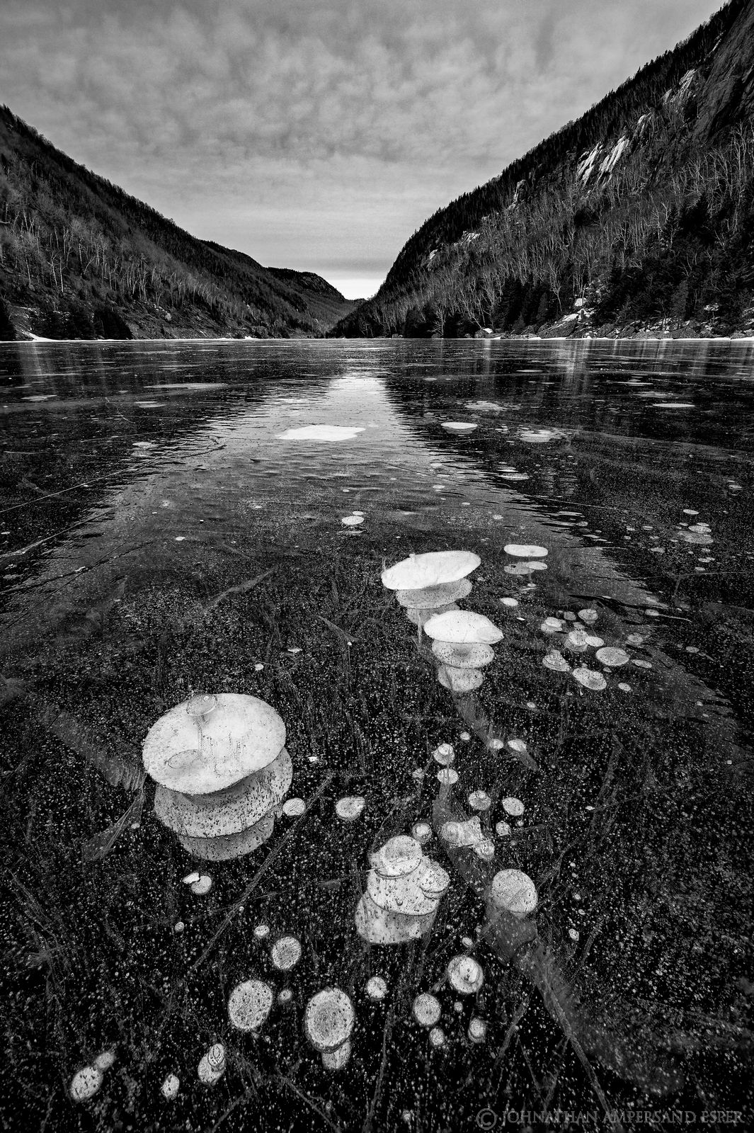 Cascade Lakes,Lower Cascade Lake,ice cracks,ice bubbles,bubbles,methane bubbles,vertical,December,2019,ice,frozen,black and white...