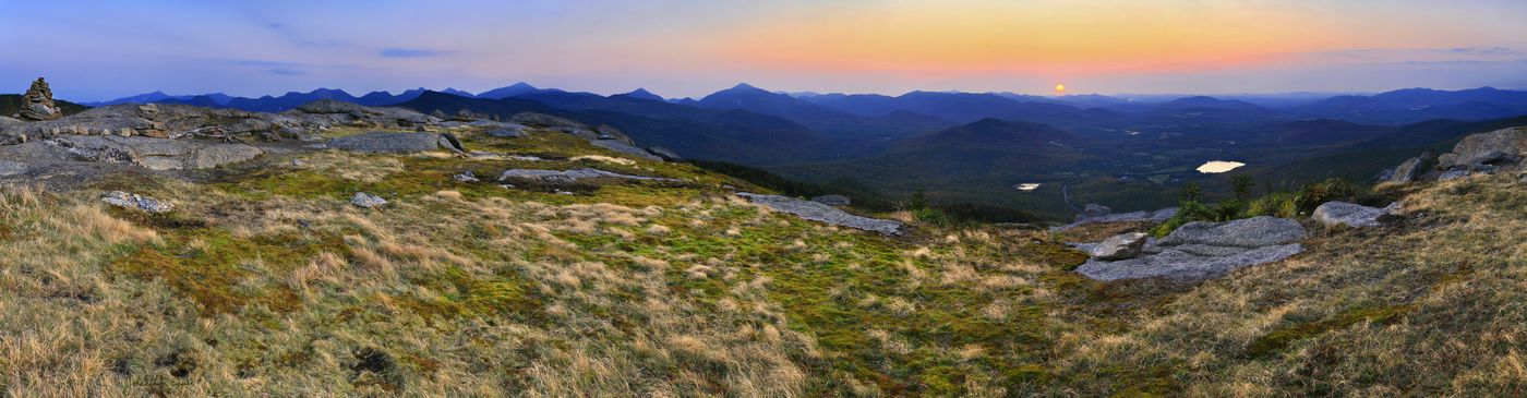 Cascade Mt,Cascade Mountain,High Peaks,High Peak,panorama,sunset,hazy,summer,summit,Lake Placid,region,Adirondacks,Adiro, photo