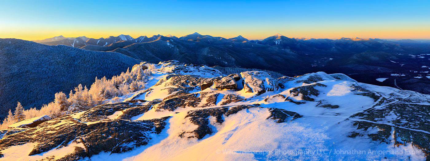 Cascade Mt summit at sunrise with the Adirondack High Peaks range