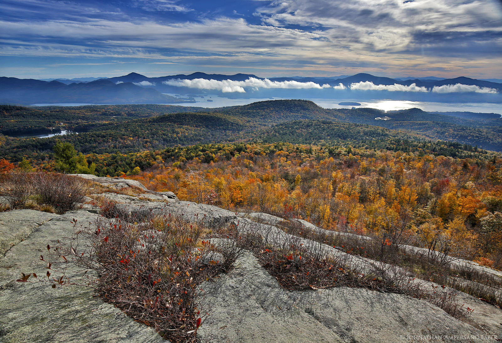 Cat Mountain,Cat Mt,Cat and Thomas Mountain Preserve,Lake George Land Conservancy,Cat Mt summit,summit,Lake George,valley fog,fog,Johnathan Esper,autumn,fall,Adirondacks,Adirondack Park, photo