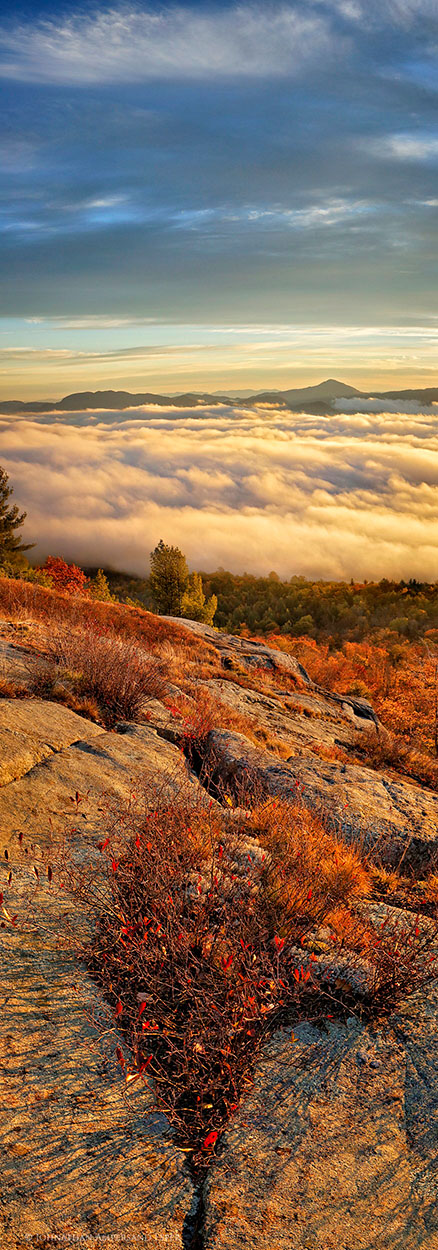 Cat Mt,Cat Mountain,Lake George,panorama,summit,rocks,fog,sunrise,valley,autumn,2015,Johnathan Esper,Adirondack Park,vertical panorama,Black Mt, photo