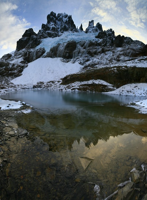 Cerro Castillo, Reserva Natural, tarn, frozen, winter, cold, Patagonia, Chile, photo
