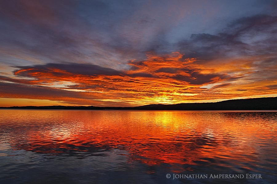 Chazy Lake,brilliant red,sunrise,reflection,, photo