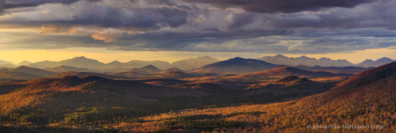 Chimney Mountain,Chimney Mt,central Adirondacks,Adirondack Mountains,May,2019,spring,sunset,sunset light,summit,rocks,panorama...